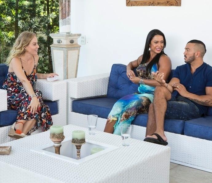 """21.mar.2016 - Gracy e Belo gravaram uma entrevista para a apresentadora Angélica, do global """"Estrelas"""""""
