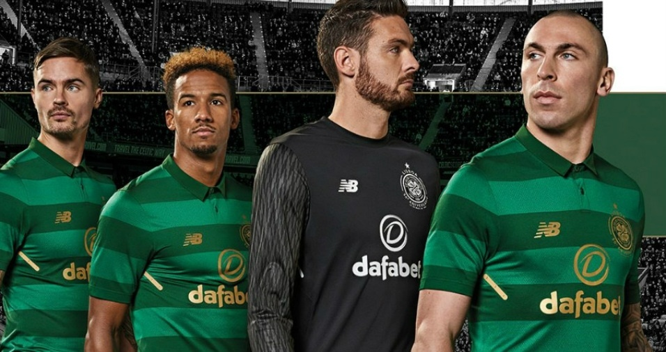 5. Celtic - O time escocês tem tradicionalmente listras verdes e brancas no uniforme, mas dessa vez inovou com dois tons de verde