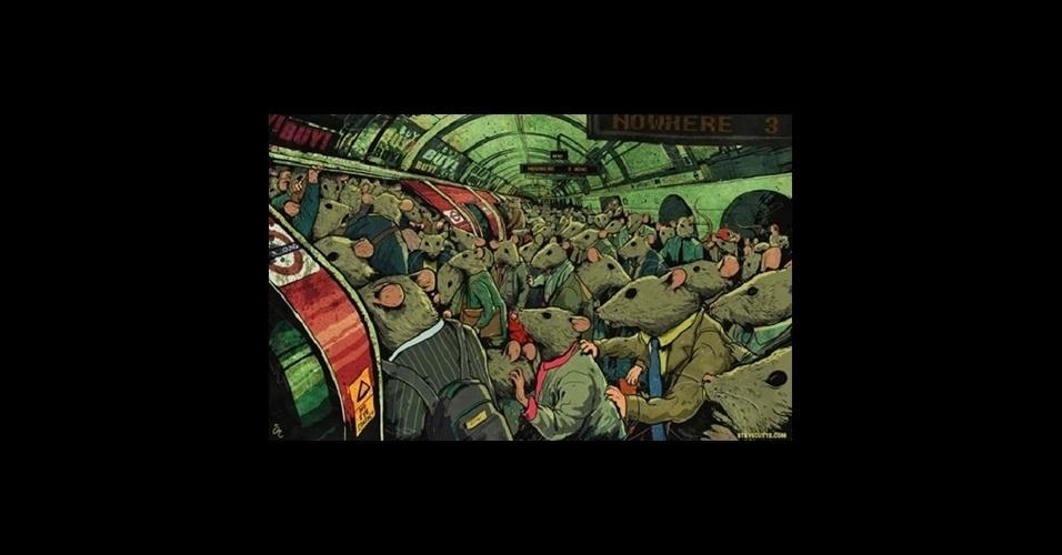 31.jul.2015 - O caos do transporte público não foi esquecido na série de ilustrações
