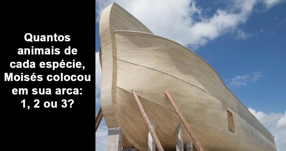 2. Quantos animais de cada espécie, Moisés colocou em sua arca: 1, 2 ou 3?