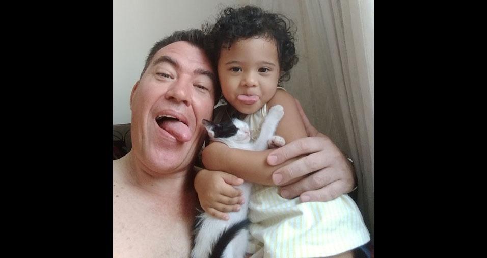 Julio Cesar com a filha Rafaela, de São Vicente (SP)