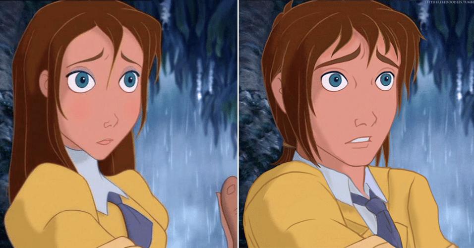 """6.jan.2016 - Jane, a mocinha de """"Tarzan"""" (1999) ganhou uma versão masculina, que manteve os cabelos castanhos"""