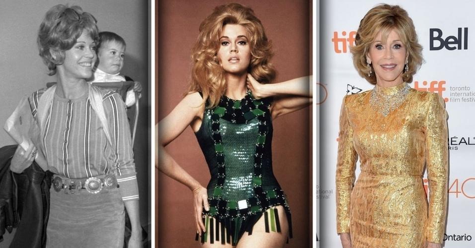 """Dez.2016 - A atriz Jane Fonda em Barbarella (centro, 1968) e na estreia do filme """"Youth"""" (dir., 2015)"""