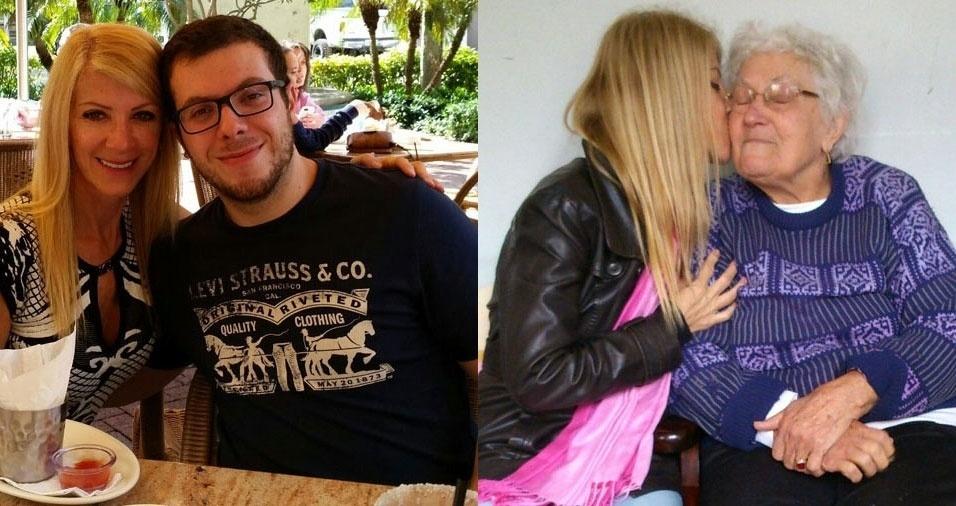 """Elena Loss von Elbe, que mora nos Estados Unidos, sente saudades do filho Pietro, que está em Curitiba (PR): """"Tão longe mas bem perto de meu coração"""" e também faz uma homenagem carinhosa à sua mãe, Iracema Munarini Loss, já falecida"""