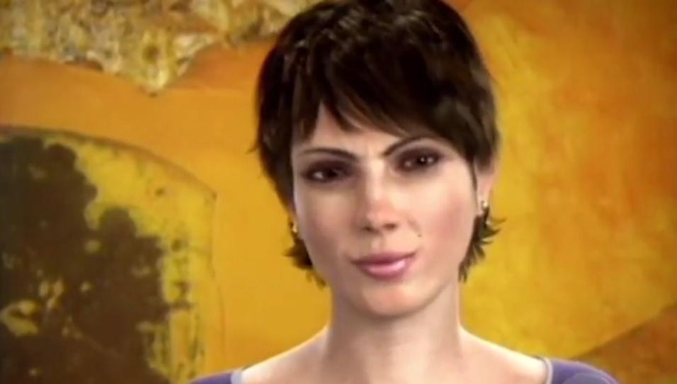 """26.jun.2016 - Na Globo, Eva Byte era presença constante no """"Fantástico"""". O visual era discreto, com cabelo curto e poucos adereços, como mandava o figurino da emissora para jornalistas. Pela semelhança, Eva foi chamada de """"clone"""" de Sandra Annenberg, titular do """"Jornal Hoje"""". """"Uma vez esbarrei a Sandra no corredor e ela falou: 'Você é a minha voz!'"""", relembra Helen. Eva ainda é lembrada nas redes sociais e comparada a Renata Lo Prete, apresentadora da GloboNews e do """"Jornal da Globo"""" nas férias de William Waack, e Glória Vanique, do """"Bom Dia São Paulo"""". Além da voz, Helen deu vida a Eva, já que os gestos e reações da locutora eram também os da apresentadora. A aparência da apresentadora virtual, entretanto, é completamente diferente. """"Não tem nada a ver comigo"""", diz Helen."""
