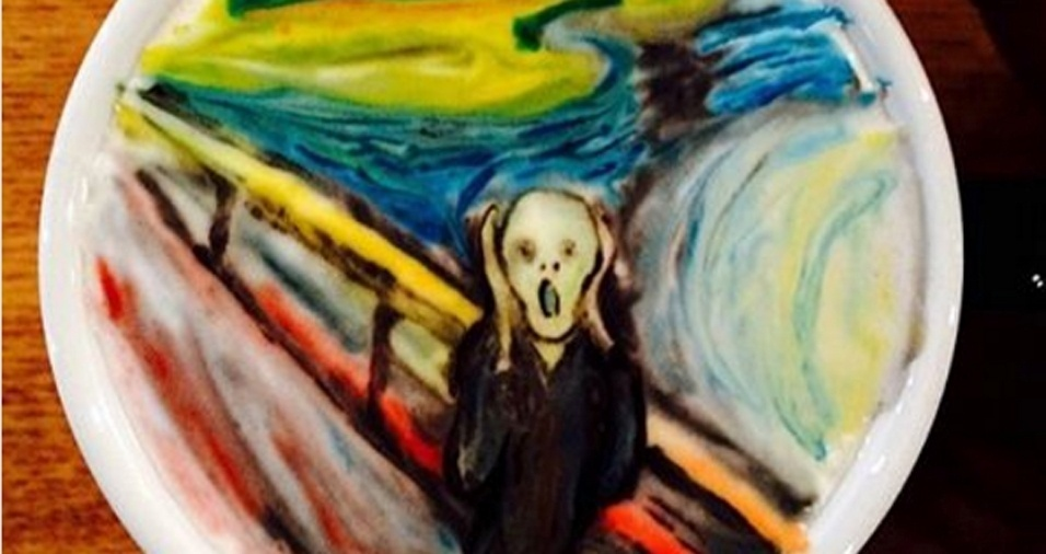 """58. """"O Grito"""", de Edvard Munch, já foi reproduzido inúmeras vezes em diferentes produtos, mas vamos combinar que colocar o quadro dentro de uma xícara de café usando espuma é trabalho para poucos"""