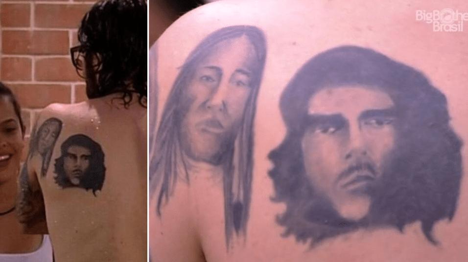 Jan.2017 - O advogado, professor e chef Ilmar tem os rostos de um índigena e do guerrilheiro argentino Che Guevara nas costas. Os traços da tatuagem de Che foram motivo de piada nas redes sociais, assim que o brother apareceu sem camisa