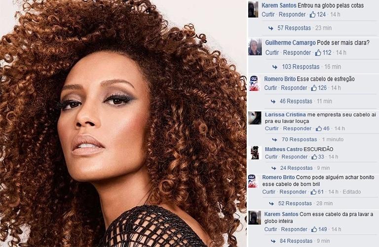 """1.nov.2015 - A atriz Taís Araújo sofreu uma série de insultos racistas em sua página no Facebook durante esta madrugada. A global foi vítima de ofensas de vários perfis falsos da rede social, que a xingavam e faziam piadas sobre a cor de sua pele. """"Entrou na Globo pelas cotas"""", """"Pode ser mais clara?"""", """"Escuridão"""" e """"Com esse cabelo dá para lavar a Globo inteira"""", foram alguns dos comentários. No entanto, Taís foi rapidamente defendida por seus fãs, que repudiaram a ação racista e lotaram a foto de elogios e mensagens de força à global."""