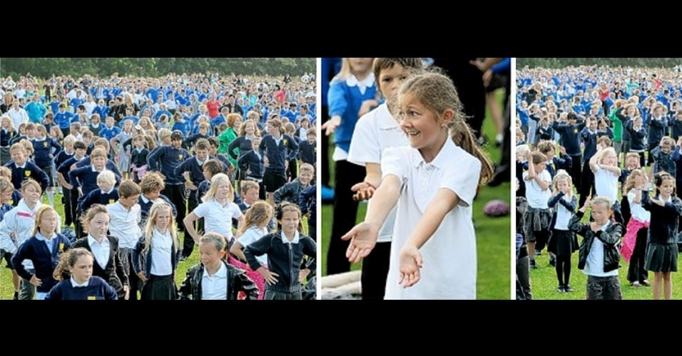 10. Em julho de 2011, 2.219 estudantes de Plymouth, no Reino Unido, coreografaram a maior macarena do mundo. Vamos lá, agora vocês: Dale a tu cuerpo alegria, Macarena!