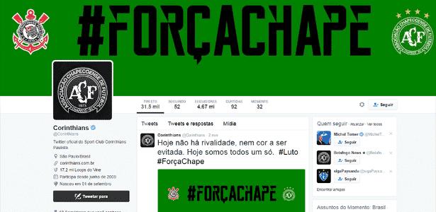 Site do Corinthians verde - Reprodução/Twitter - Reprodução/Twitter