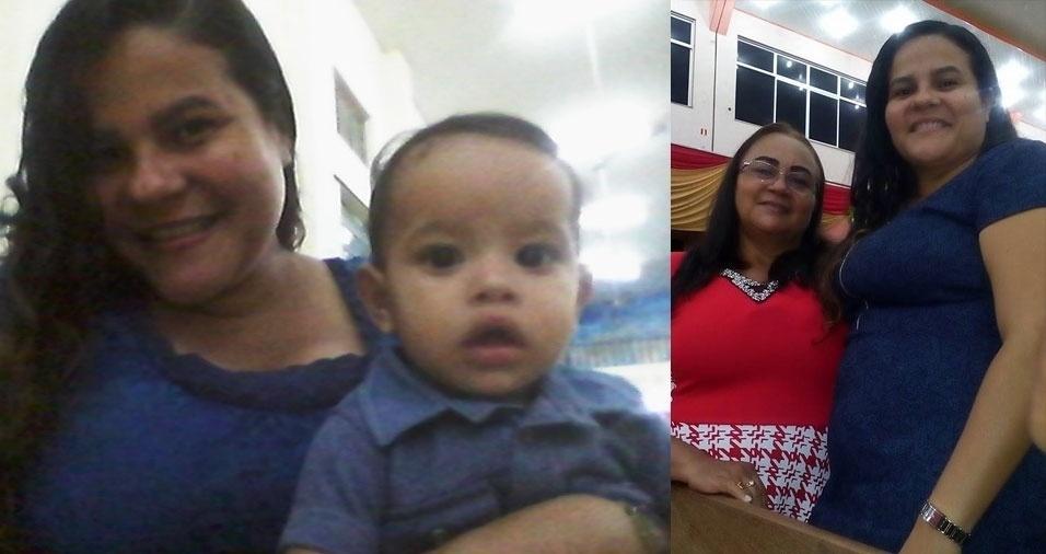 Luciana com seu bebê Gerse Jaime e com a mãe, Valnete, de Portel, no Pará