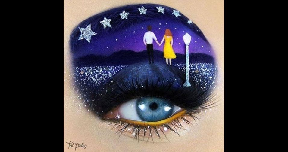 """1. Tal Peleg é uma artista de Israel que cria verdadeiras obras de arte com maquiagem para os olhos, transformando o rosto em uma tela para suas obras cheias de detalhes, como nesta representação para o filme """"La La Land"""""""