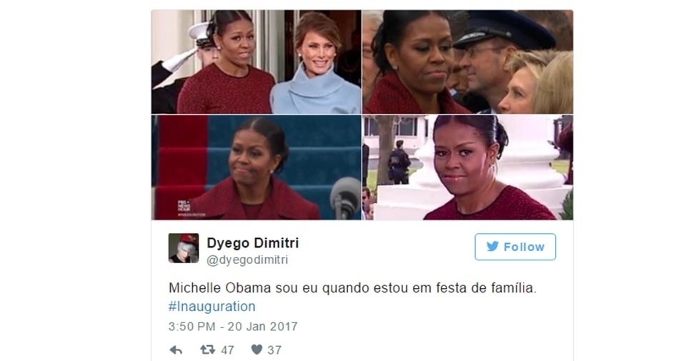 """23.jan.2017 - """"Michelle Obama sou eu quando estou em festa de família"""""""