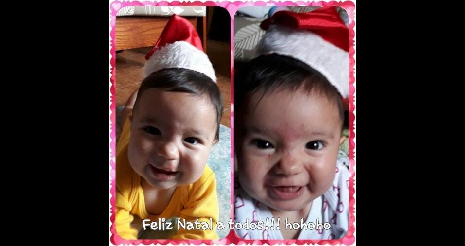 """Juliana Fusco, de São Paulo (SP), revela o motivo de seu Natal ficar mais especial neste ano: """"Minhas gêmeas chegaram esse ano pra alegrar ainda mais o Natal da família. Ana Luíza e Giovanna. Feliz Natal!"""""""