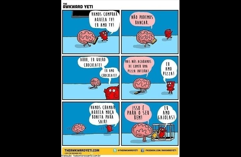 7.out.2015 - Nas ilustrações, o cérebro e o coração discordam em tudo, mas acabam chegando a uma conclusão. Às vezes, quem decide é a razão; em outras, é a emoção que encerra o dilema