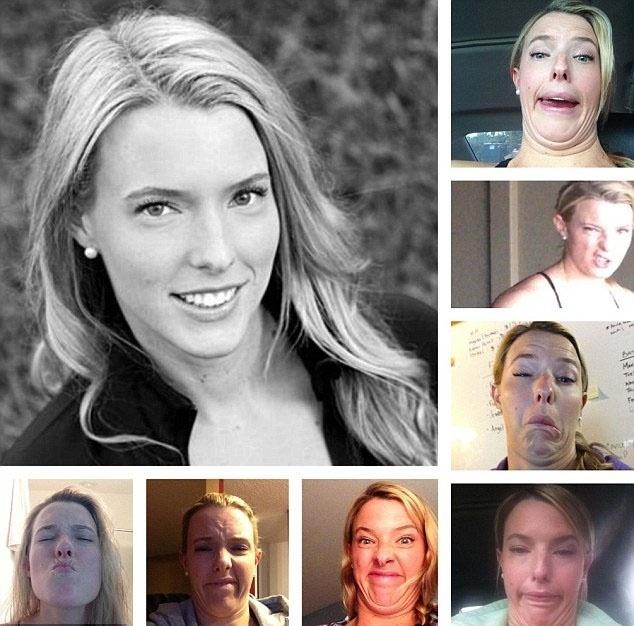 """27.jan.2016 - Em vários selfies engraçados, Molly ressalta que todas as mulheres possuem imperfeições. Nas pequenas imagens, a bela aparece com um """"papo"""" debaixo do queixo"""