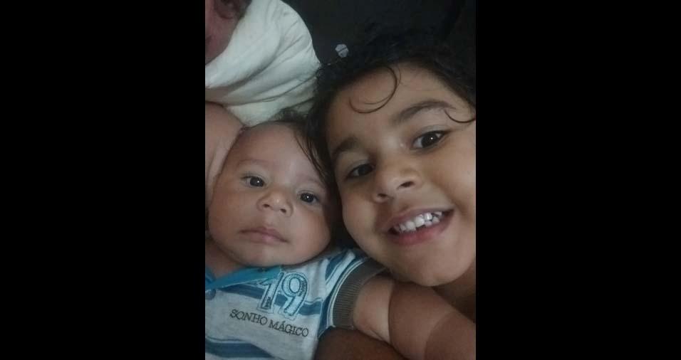 Charlys Vitor e Fernanda Souza, de Itabira (MG), enviaram foto dos filhos Isabella Vitória e João Miguel