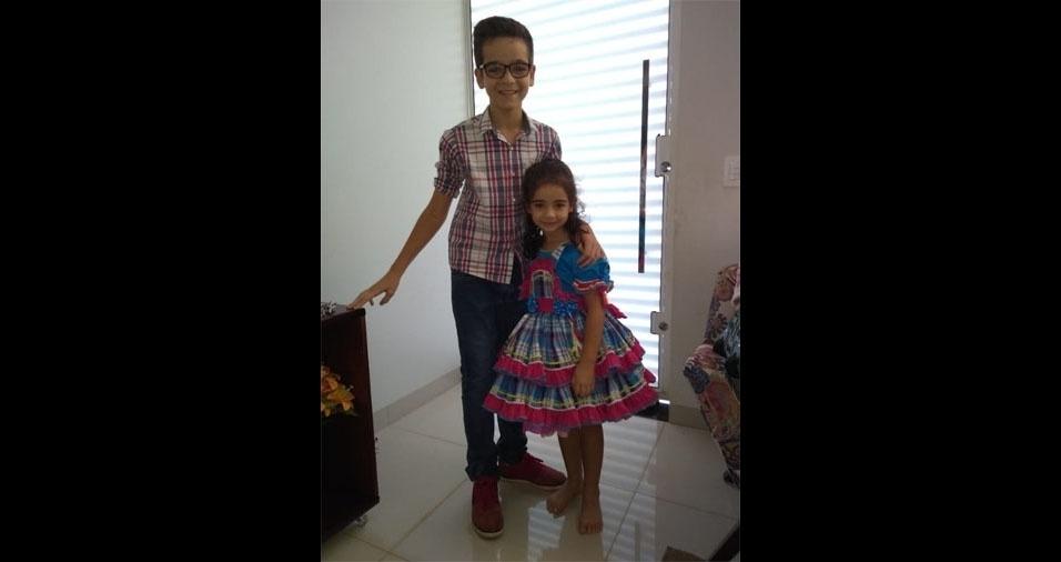 Pietro e Júlia, de Jataí (GO), em foto enviada pelo papai, André Moura