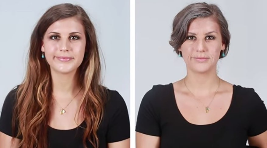 8.set.2015 - Na imagem, Meredith (esq.) antes e depois (dir.) da transformação. A mudança em questão faz parte de um vídeo do site americano BuzzFeed que mostrou, com a ajuda da maquiagem, os efeitos do cigarro na aparência das pessoas