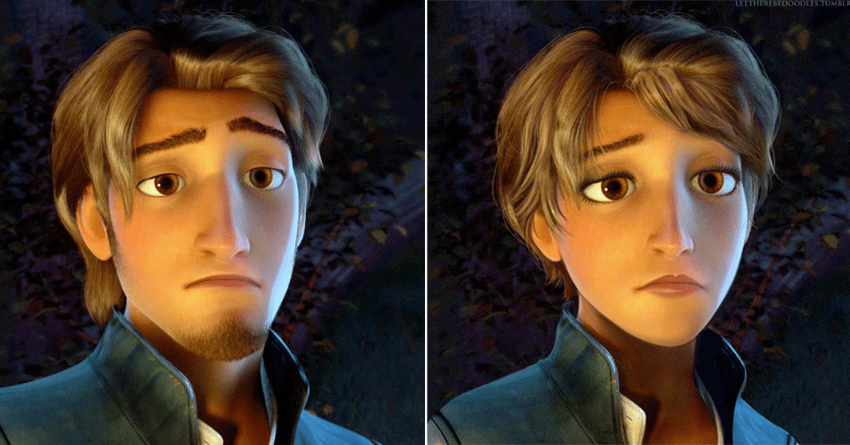 """6.jan.2016 - As animações 3D da Disney também passaram pelo bisturi digital do estudante TT Brent. Flynn Rider, de """"Enrolados"""" (2010), se transformou em uma garota, com os cabelos ainda mais curtos que o original"""