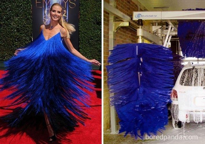 Fev.2017 - A modelo alemã Heidi Klum (esq.) e as cerdas de um lava rápido