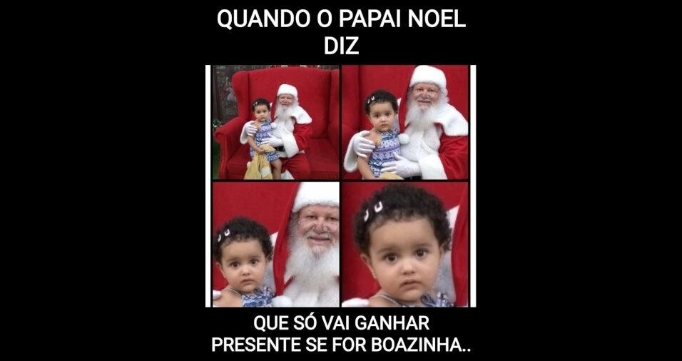 Cintia, de São Paulo (SP), enviou um meme da filha Atena, preocupada com o que o papai Noel disse