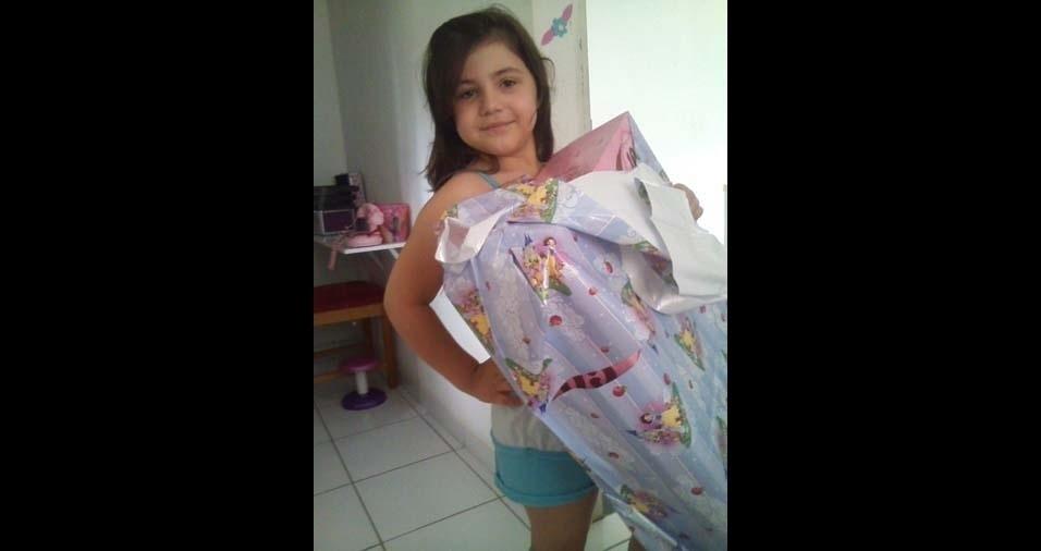Cristiane, de Cariacica (ES), enviou foto da filha Walentina, de sete anos