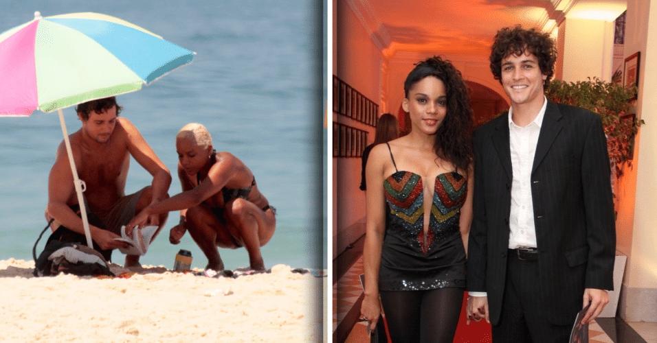 21.mar.2017 - Aparecida Petrowky foi clicada na praia de Ipanema ao lado do marido, Felipe Dylon. A atriz chamou a atenção pelo visual, com os cabelos curtos e platinados. À direita, o casal aparece em foto de 2014
