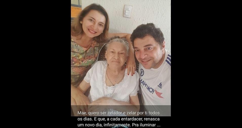 """Maria Isabel Duarte Matos, de 91 anos, com os filhos Mário Duarte Matos e Eleonora Duarte Matos, de Teresina (PI): """"Mãe, quero ser zelador e zelar por ti todos os dias. E que, a cada entardecer, renasça um novo dia, infinitamente. Pra iluminar quem iluminou minha vida, a vida inteira."""""""