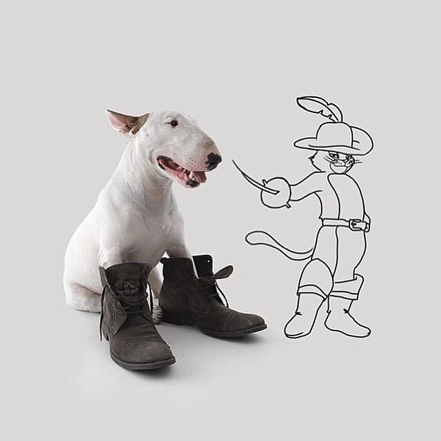 9.dez.2015 - Bull terrier Jimmy Choo banca o gato de botas em ilustração feita pelo dono