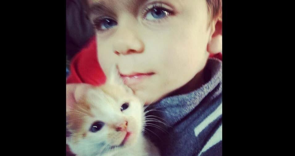 Amanda enviou foto do filho Mateus, de quatro anos, de Triunfo (RS)