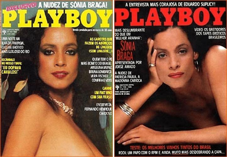 """Capas da revista """"Playboy"""" de setembro de 1984 (esq.) e julho de 1986 com ensaios estrelados pela atriz Sonia Braga"""