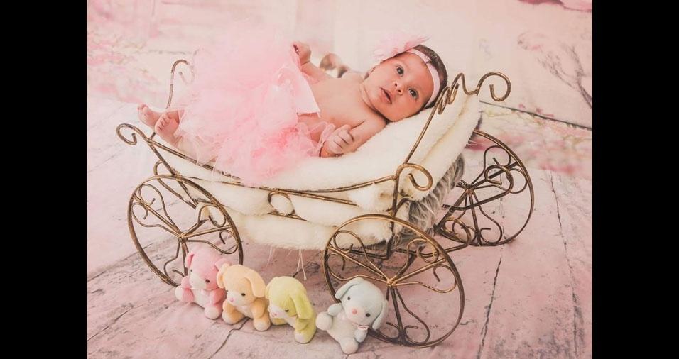 Célio e Ranyelle mandaram foto da filha Maria Fernanda, de dois meses, de Brasilândia (MG)