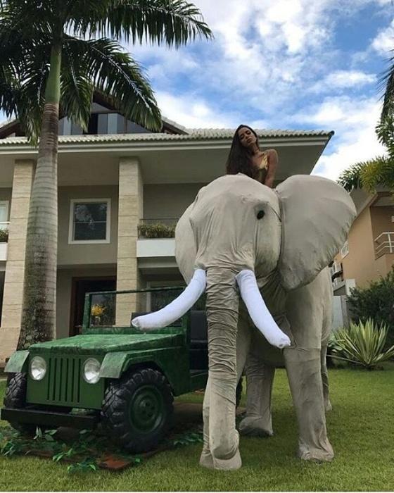 31.mar.2017 - Anitta terminou a festa sobre um dos elefantes decorativos