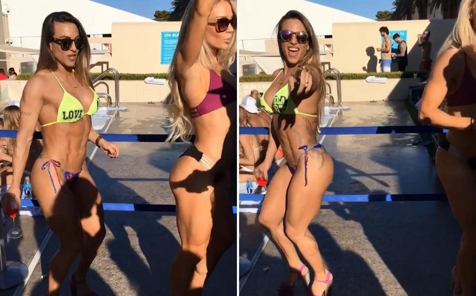 25.set.2016 - Michelly Crisfepe aparece rebolando de biquíni em vídeo à beira da piscina em Las Vegas, nos Estados Unidos.