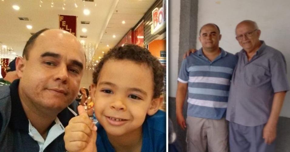 Rodrigo Ferreira, de Resende (RJ), com o filho Italo Reis e o pai Haroldo de Souza