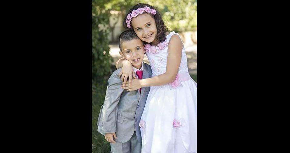 Sonia, de Portugal, enviou foto dos filhos Maria Eduarda, de oito anos, e Gabriel, de cinco anos