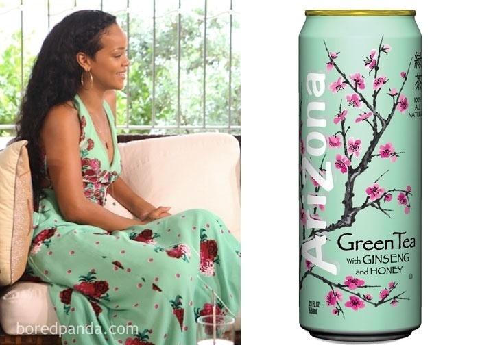 Fev.2017 - Vestido usado pela cantora Rihanna e o rótulo de um chá enlatado
