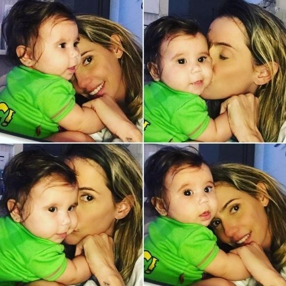 """29.abr.2016 - """"No chamego"""", escreveu a mamãe Deborah Secco na legenda da imagem em que aparece cheia de carinho com a filhota, Maria Flor"""