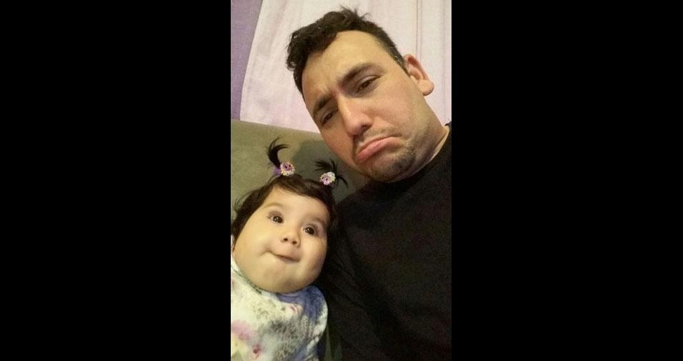 Olavo com a filha Lavínia