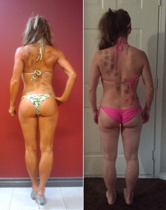 27.jan.2016 - Um das musas fitness que toparam o desafio, Danny Johnson compartilhou duas fotos de si mesma lado a lado para mostrar quão diferente ela parecia de acordo com a pose. Na imagem da direita, ela mostra que tem defeitos como toda mulher