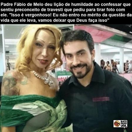 11.dez.2015 - O padre Fábio de Mello disse ter se comovido ao saber a história de vida de Luana, que lhe pediu para tirar foto - Reprodução