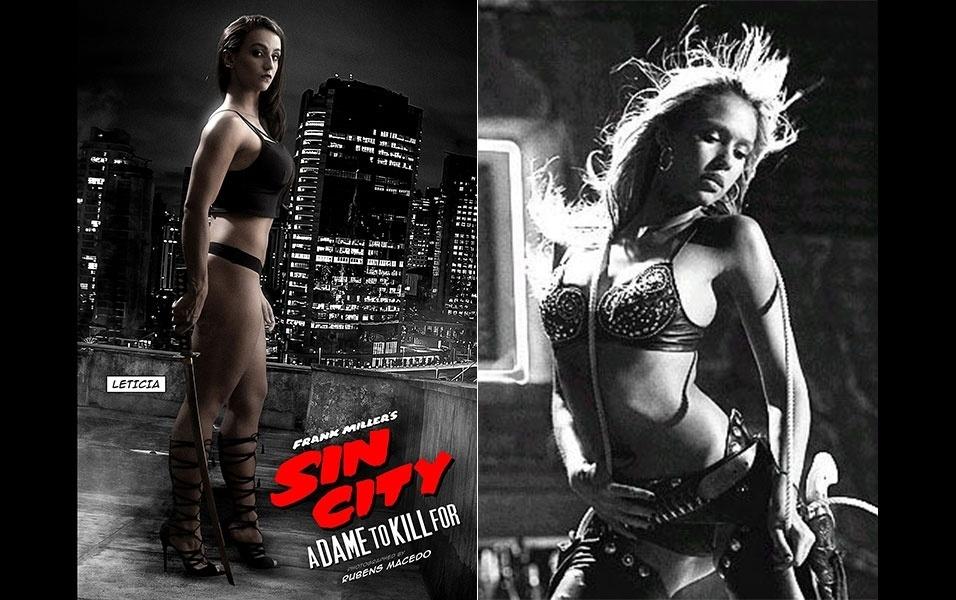 """12.mai.2016 - A modelo Letícia Mazzonetto (esq.), que foi um dos destaque do concurso Garoto e Garota Fitness Brasil deste ano, encarna Jéssica Alba (dir.) em um ensaio sensual com o tema """"Sin City"""", filme estrelado pela atriz norte-americana. Assim ocorre com Alba no filme, o ensaio com Letícia, de 20 anos, mistura muita sensualidade e armas. """"A única vez que peguei uma arma foi durante um jogo de paintball"""", comenta a jovem modelo aos risos. """"Mas por ela vale tudo, ela é diva e eu sou fã"""", diz Letícia sobre Alba. Confira fotos do ensaio"""