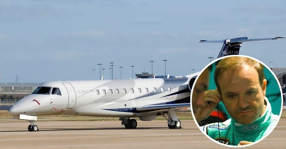 12. O piloto Rubens Barrichello viaja com um Embraer Legacy 600, bimotor executivo com 13 lugares e autonomia para 6 mil quilômetros. Custa US$ 27,5 milhões