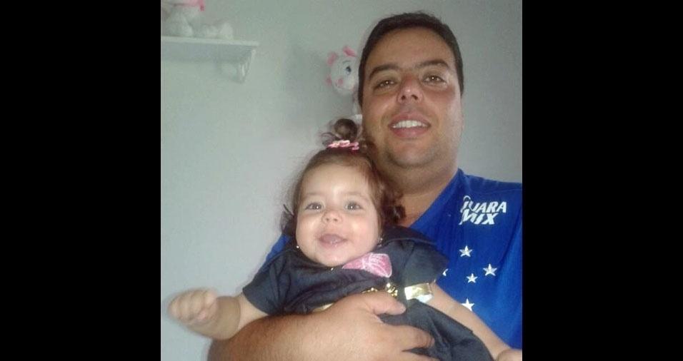 Geraldo Melillo e a filhinha Laysa, de Conselheiro Lafaiete (MG)