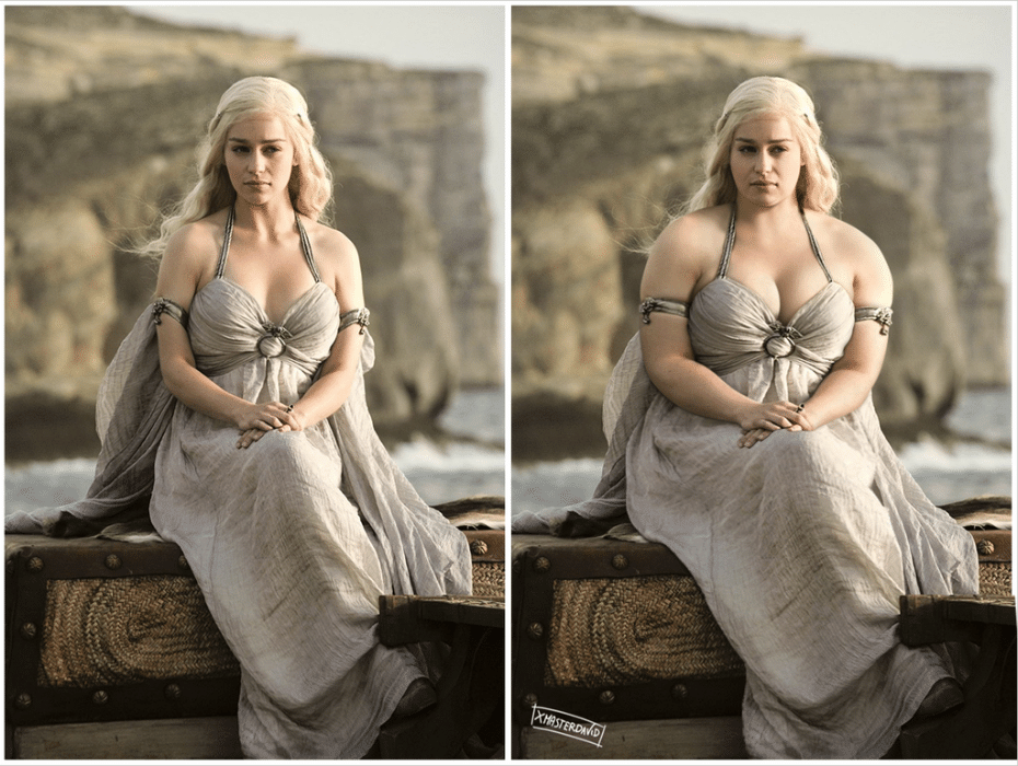 "11.dez.2015 - Outra personagem da ficção que engordou no Photoshop de ilustrador foi Daenerys Targaryen, interpretada por Emilia Clark, na série de TV ""Game of Thrones"""
