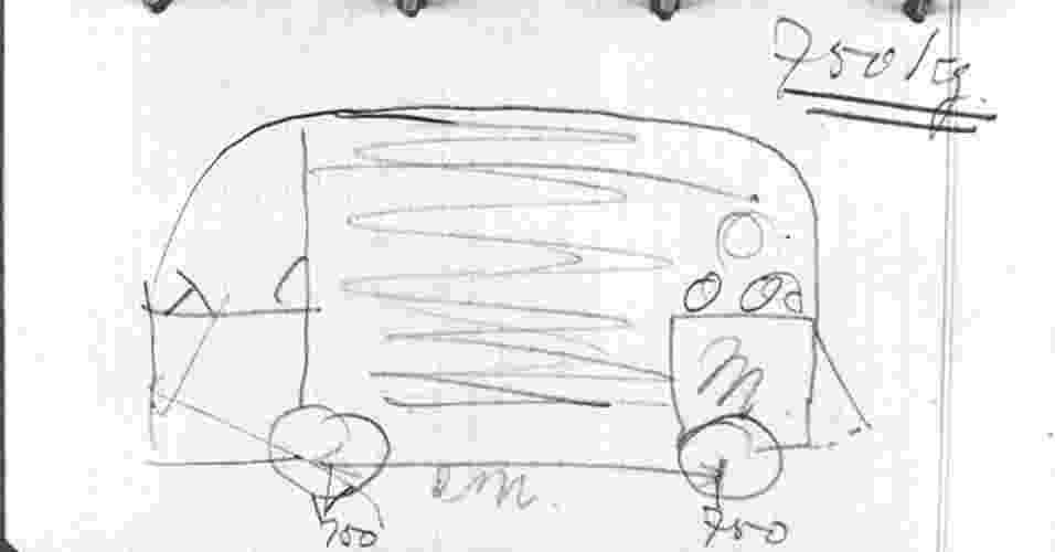 1. A Kombi foi idealizada pelo importador holandês Ben Pon, que imaginou um veículo leve de carga usando o conjunto mecânico do Fusca. O primeiro esboço do carro foi desenhado em sua caderneta de anotações em abril de 1947 - Reprodução/The Truth About Cars
