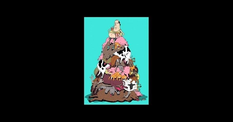 31.jul.2015 - A crueldade com os animais também foi lembrada pelo ilustrador britânico, que criou uma série de desenhos críticos baseados na sociedade moderna