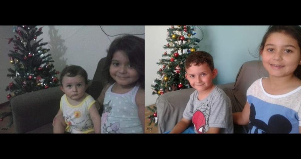 O pai Douglas enviou foto dos filhos Icaro e Lucy, de Navegantes (SC)