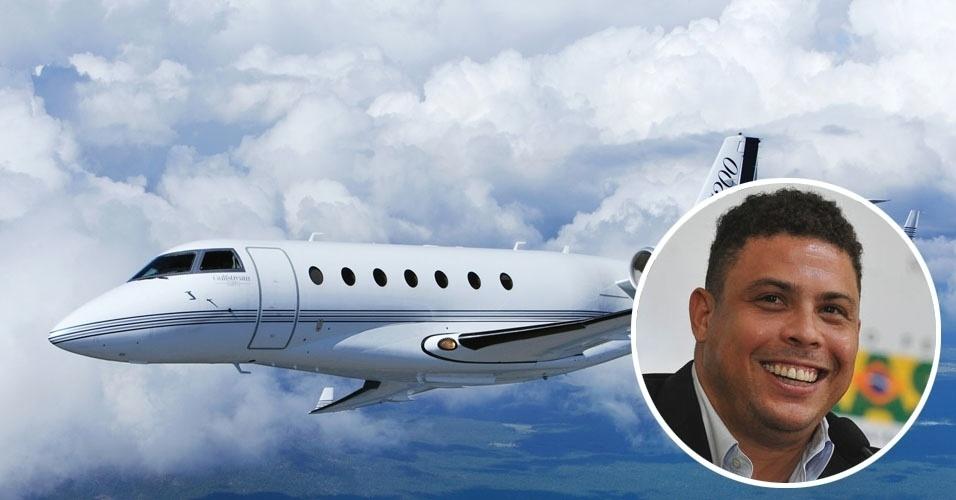 7. Ronaldo Nazário se desloca em um Gulfstream G200, bimotor turbofan para oito ou 10 passageiros e alcance de 5,8 mil quilômetros. Um modelo usado pode ser comprado por cerca de US$ 5,5 milhões